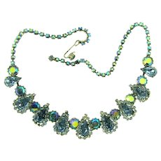 Vintage 1960's blue rhinestone choker Necklace