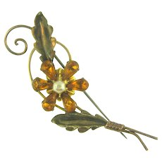Signed Van Dell gold vermeil floral Brooch with imitation pearl and amber rhinestones