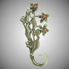 Vintage floral silver tone Brooch with coral glass beads
