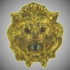 Signed F&B small lion's head figural lingerie or ascot clip