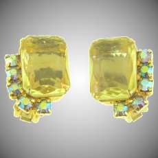 Vintage 1960's clip back Earrings with large citrine glass stone and AB rhinestones