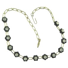Vintage choker black flower choker Necklace with composition beads and crystal rhinestones