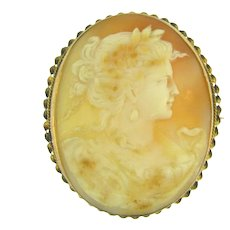 Vintage large shell Cameo Brooch in 10kt gold braided frame - Red Tag Sale Item