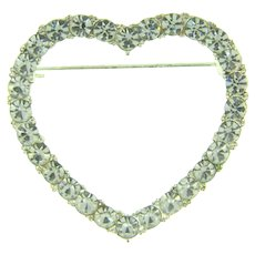Vintage figural heart shaped Brooch with crystal rhinestones