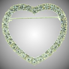 Vintage figural heart shaped Brooch with crystal rhinestones