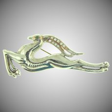 Vintage Art Deco figural large leaping gazelle/impala Brooch with rhinestones