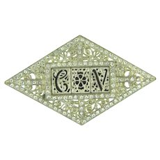 Vintage Art Deco initial CV Brooch with crystal rhinestones