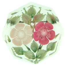 Vintage reverse deeply carved floral Lucite Brooch in pink and green shades