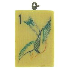 Vintage early plastic Mahjongg tile Pendant