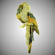 Beautiful vintage large parrot figural Brooch with enamel and rhinestones