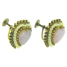 Vintage screw on Earrings with opalescent glass hearts and imitation pearls