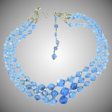 Vintage triple strand AB faceted blue bead Necklace