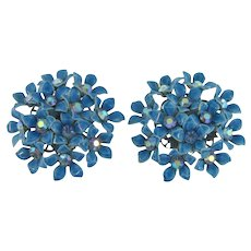Signed Kramer large clip back floral Earrings with blue enamel flowers and AB rhinestones