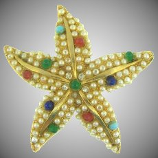 Vintage sweet figural starfish Brooch with imitation white pearls and multicolored tiny glass beads