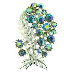 Signed pegasus Coro vintage 1960's leaf brooch with blue AB rhinestones
