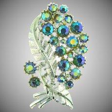 Signed pegasus Coro vintage 1960's leaf brooch with blue AB rhinestones