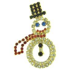 Cute vintage figural Snowman rhinestone Brooch