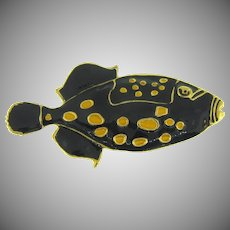 Large figural tropical fish Brooch in black and yellow enamel