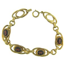 Vintage gold filled link Bracelet with genuine garnet stones