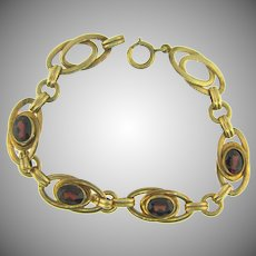 Vintage gold filled link Bracelet with genuine garnet stones