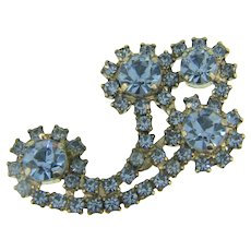 Signed Kramer vintage Brooch with blue rhinestones