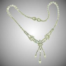 Signed Kramer of New York gorgeous vintage crystal single strand rhinestone choker Necklace