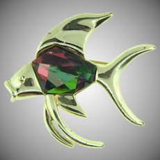 Signed Sarah Coventry figural fish Brooch with heliotrope watermelon stone