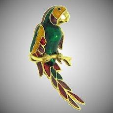 Vintage multicolored enamel figural parrot Brooch