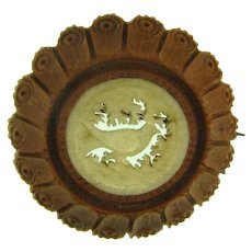 Small vintage carved wooden Brooch with center French Ivory carved pheasant