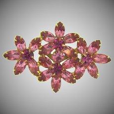 Vintage large floral rhinestone Brooch with pink stones