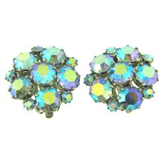 Signed Weiss clip back Earrings with brilliant blue AB rhinestones