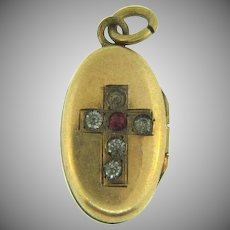 Tiny 9kt gold Locket Charm/pendant  with cross and paste stones