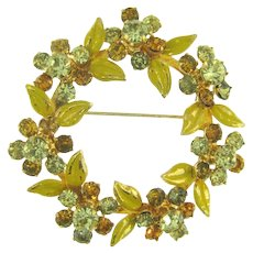 Vintage 1960's circular floral Brooch with rhinestones and yellow enamel
