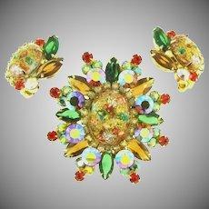 Gorgeous Juliana D&E Easter egg Brooch and clip back Earrings set