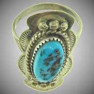 Signed W. Begay sterling turquoise stone Ring