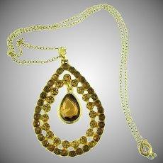 Vintage pendant necklace with topaz rhinestones