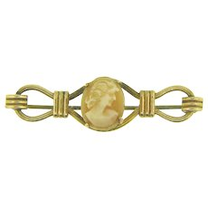 Signed AMCO gold filled Bar Pin with shell cameo