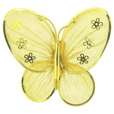 Vintage figural  mesh gold tone butterfly Brooch