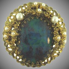 Vintage filigree large Brooch with imitation pearls and large oval swirled composition cabochon