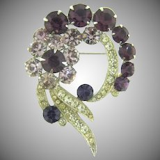 Signed Eisenberg vintage Brooch with deep purple, lavender and crystal rhinestones
