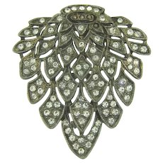 Vintage leaf shaped pot metal Dress Clip with crystal rhinestones