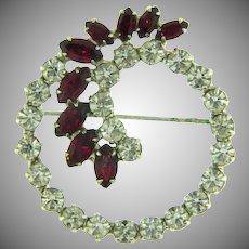 Signed B.David vintage circular Brooch with crystal and red rhinestones