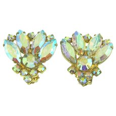 Vintage 1960's bold clip back AB rhinestone Earrings