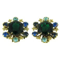 Signed Beau Jewels clip back rhinestone Earrings in blue and green shades
