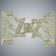 2 part pot metal Art Deco Belt Buckle with crystal rhinestones