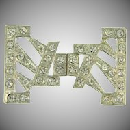 2 part pot metal Art Deco Belt Buckle with crystal rhinestones