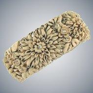 Vintage celluloid floral clamper Bracelet with rhinestones