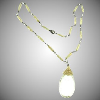Vintage early choker pendant Necklace with imitation pearls and large crystal glass drop