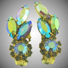 Vintage rhinestone clip back Earrings in shades of blue and green