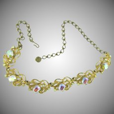 Vintage 1960's rhinestone choker link Necklace with AB rhinestones